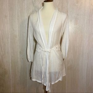 Anthro Knitted & Knotted White Linen Blend Cardi